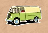 Vintage van illustration on old paper — Stock Vector