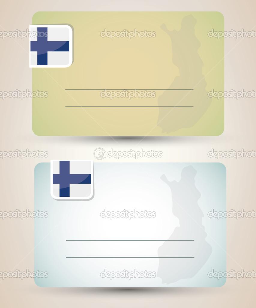 名片与船旗国和芬兰-地图矢量– 图库插图