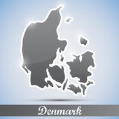 Shiny icon in form of Denmark — Stock Vector