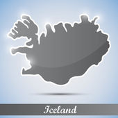 Shiny icon in form of Iceland — Stock Vector