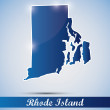 Shiny icon in form of Rhode Island state, USA - Stock Vector