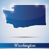 Shiny icon in form of Washington state, USA — Stock Vector