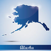 Shiny icon in form of Alaska state, USA — Stock Vector