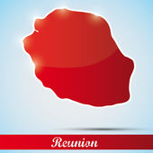 Shiny icon in form of Reunion island, France — Stock Vector