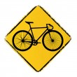Warning sign with a fixed gear bike — Grafika wektorowa