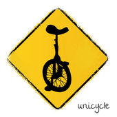 Warning road sign with a unicycle — Vector de stock