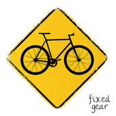 Warning sign with a fixed gear bike — Stock Vector