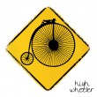 Warning road sign with a penny-farthing bike  — Stock Vector
