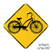 Warning road sign with a urban cruiser bike — Stock Vector