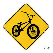 Warning road sign with a bmx bike — Stok Vektör