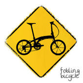 Warning road sign with a folding bicycle — Stock Vector