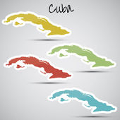 Stickers in form of Cuba — Stock Vector