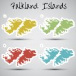 Stock Vector: Stickers in form of Falkland Islands