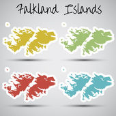 Stickers in form of Falkland Islands — Stock Vector