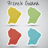 Stickers in form of French Guiana — Stock Vector