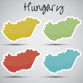 Stickers in form of Hungary — Stock Vector