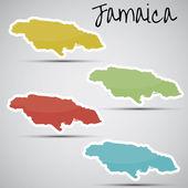 ジャマイカの形のステッカー — ストックベクタ