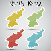 Stickers in form of North Korea — Stock Vector