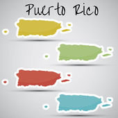 Stickers in form of Puerto Rico — Stock Vector