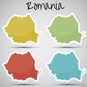 Stickers in form of Romania — Stock Vector