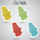 Stickers in form of Serbia — Stock Vector