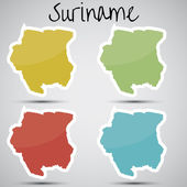Stickers in form of Suriname — Stock Vector