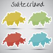 Stickers in form of Switzerland — Stock Vector