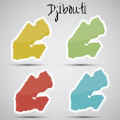 Stickers in form of Djibouti — Stock Vector