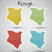 Stickers in form of Kenya — Stock Vector