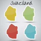 Stickers in form of Swaziland — Stock Vector