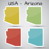 Stickers in form of Arizona state, USA — Stock Vector
