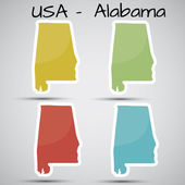 Stickers in form of Alabama state, USA — Stock Vector