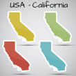 Stock Vector: Stickers in form of Californistate, USA