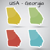 Stickers in form of Georgia state, USA — Stock Vector