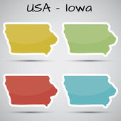 Stickers in form of Iowa state, USA — Stock Vector