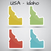 Stickers in form of Idaho state, USA — Stock Vector