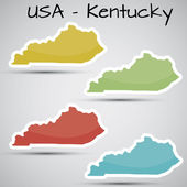 Stickers in form of Kentucky state, USA — Stock Vector