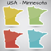 Stickers in form of Minnesota state, USA — Stock Vector