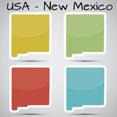 Stickers in form of New Mexico state, USA — Stock Vector