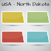 Stickers in form of North Dakota state, USA — Stock Vector