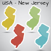 Stickers in form of New Jersey state, USA — Stock Vector