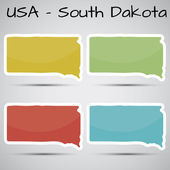Stickers in form of South Dakota state, USA — Stock Vector