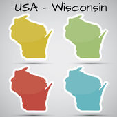 Stickers in form of Wisconsin state, USA — Stock Vector