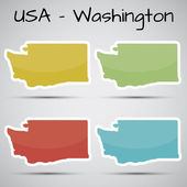 Stickers in form of Washington state, USA — Stock Vector