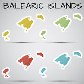 Stickers in form of Balearic Islands, Spain — Stock Vector