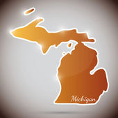 Vintage sticker in form of Michigan state, USA — Stock Vector