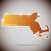Vintage sticker in form of Massachusetts state, USA — Stock Vector