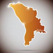 Vintage sticker in form of Moldova — Stock Vector