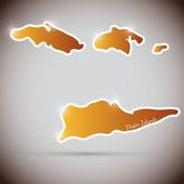 Etiqueta engomada de la vendimia en forma de islas vírgenes — Vector de stock
