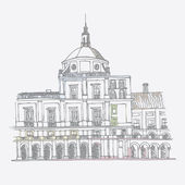Urban sketch of the Royal Palace in Aranjuez — Vettoriale Stock